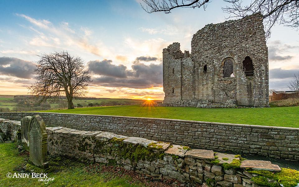 Bowes Castle at sundown