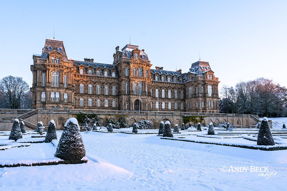 Bowes Museum as the sun rises