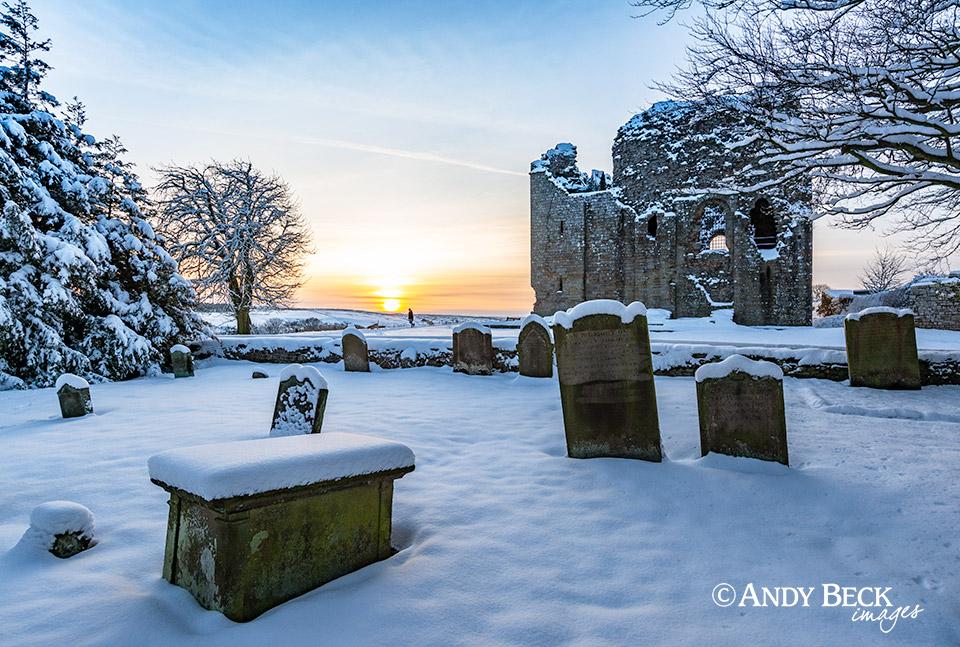 Bowes churchyard at sundown