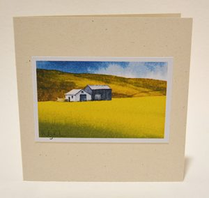 Barns in buttercups card