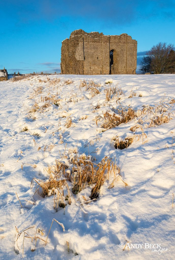 Afternoon sun and snow, Bowes Castle