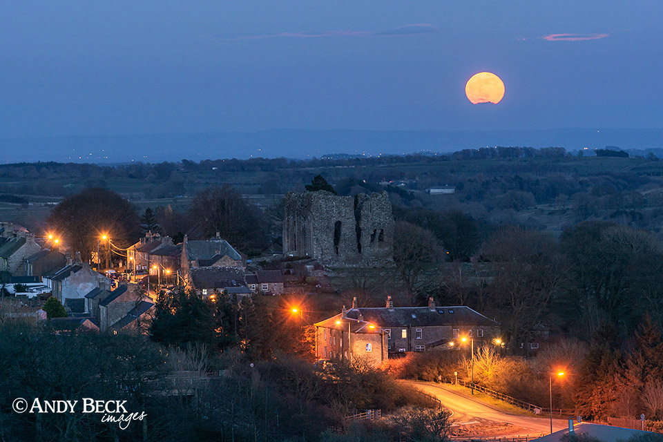 Bowes village under a full moon