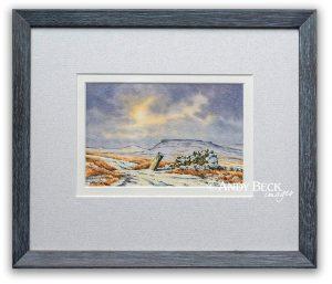 Goldsborough fWinter sky over Goldsborough original watercolour sketch framed
