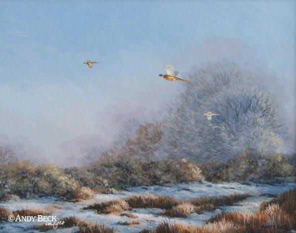 Pheasants rising original oil painting