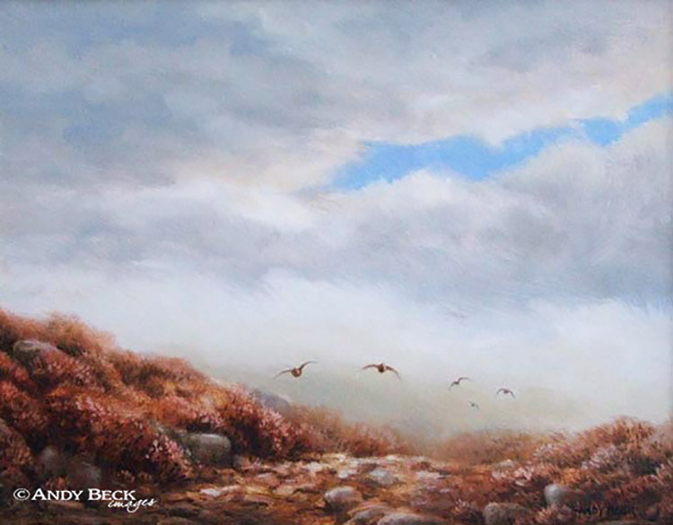 Red Grouse out of the mist original oil painting