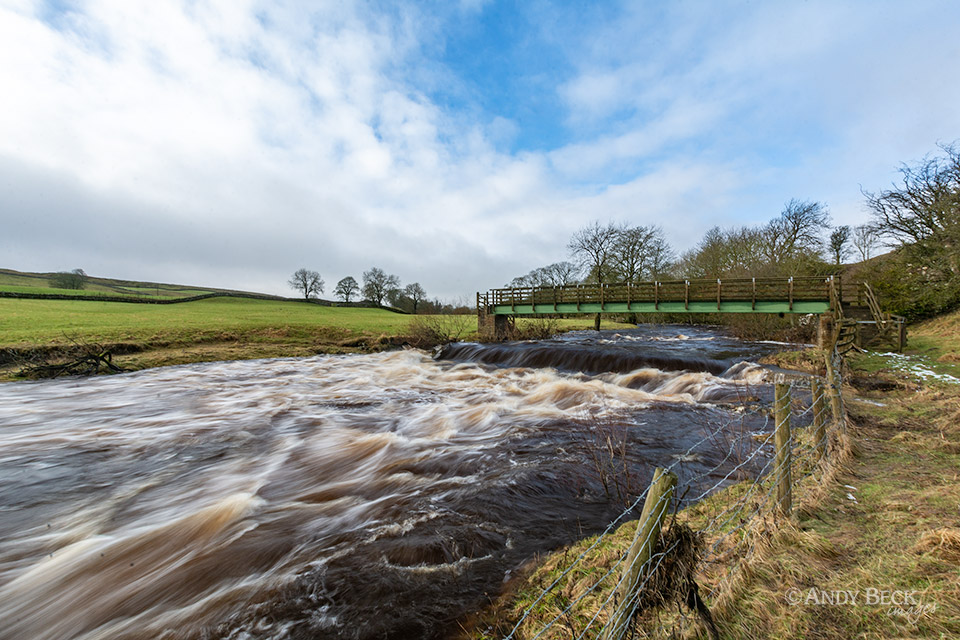 Snowmelt in the river Greta at Bowes