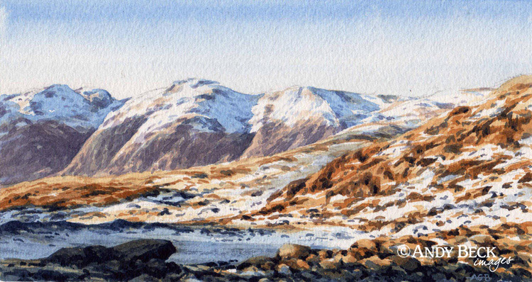 Scafells in winter from Crinkle Crags