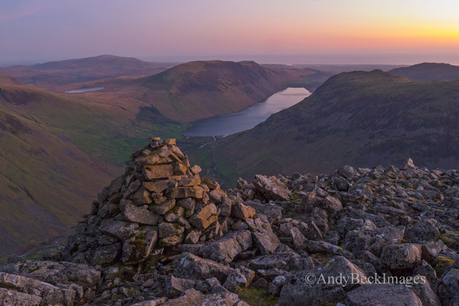 Wastwater at dusk from Kirk Fell