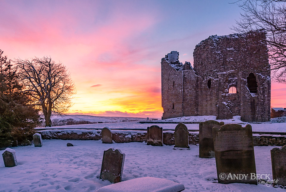 Winter sunset at Bowes Castle