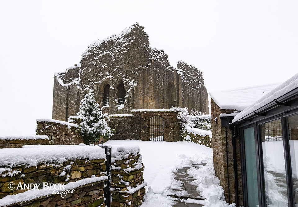 Bowes Castle in winter