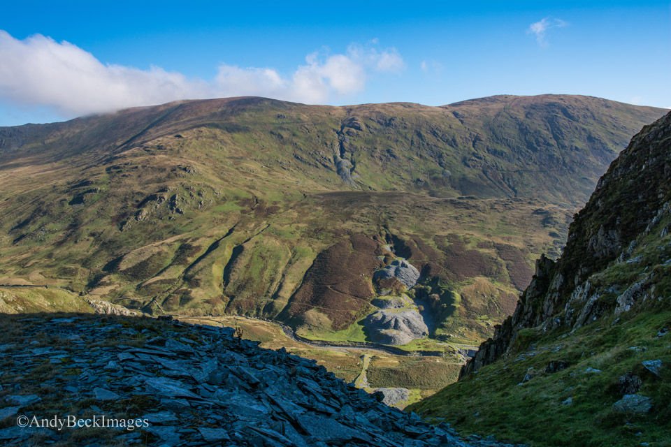 Kentmere Pike across the Kentmere valley from Rainsbarrow quarry