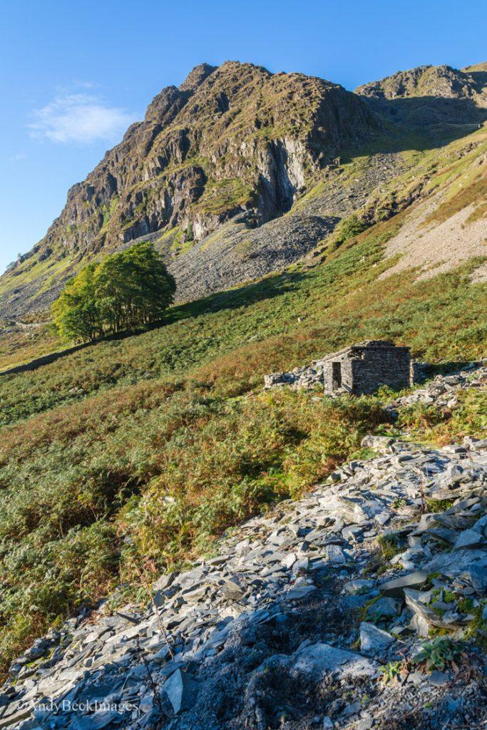 Rainsbarrow Crag above the old quarry hut.
