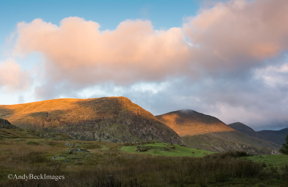 Sun strikes the Ill Bell ridge at dawn in the Kentmere Valley