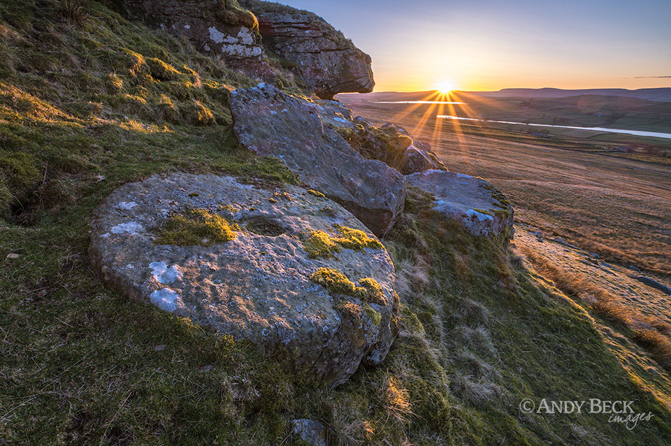 Goldsborough millstone at sunset