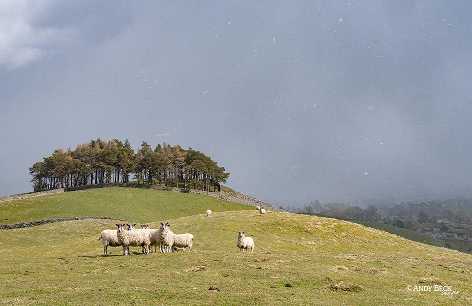 Kirkcarrion with a snow flurry